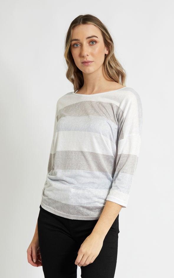 Jersey Stripe 3/4 Sleeve Top Blue/grey