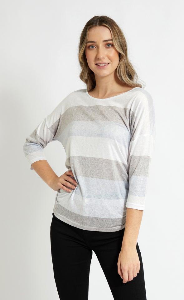 Jersey Stripe 3/4 Sleeve Top