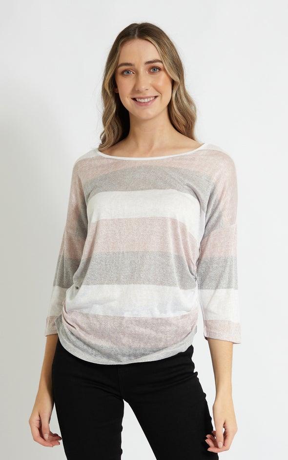 Jersey Stripe 3/4 Sleeve Top Blush/grey
