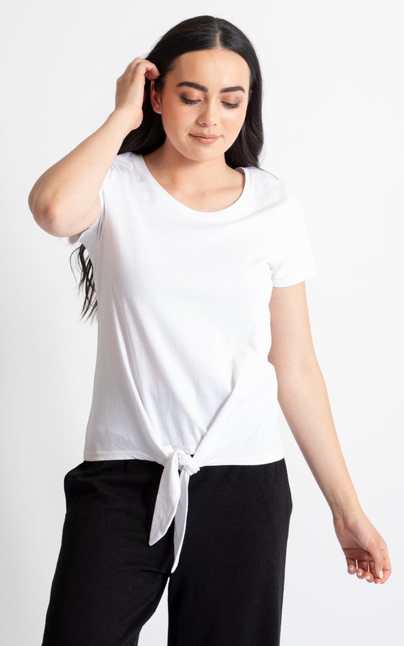 Jersey Tie Front Top White