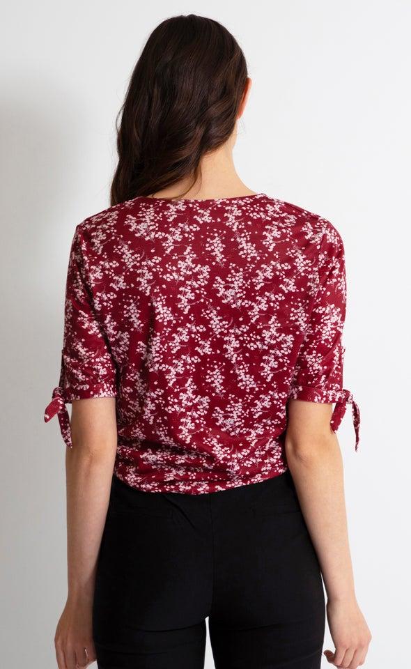 Jersey Tie Sleeve Twist Top Maroon Floral