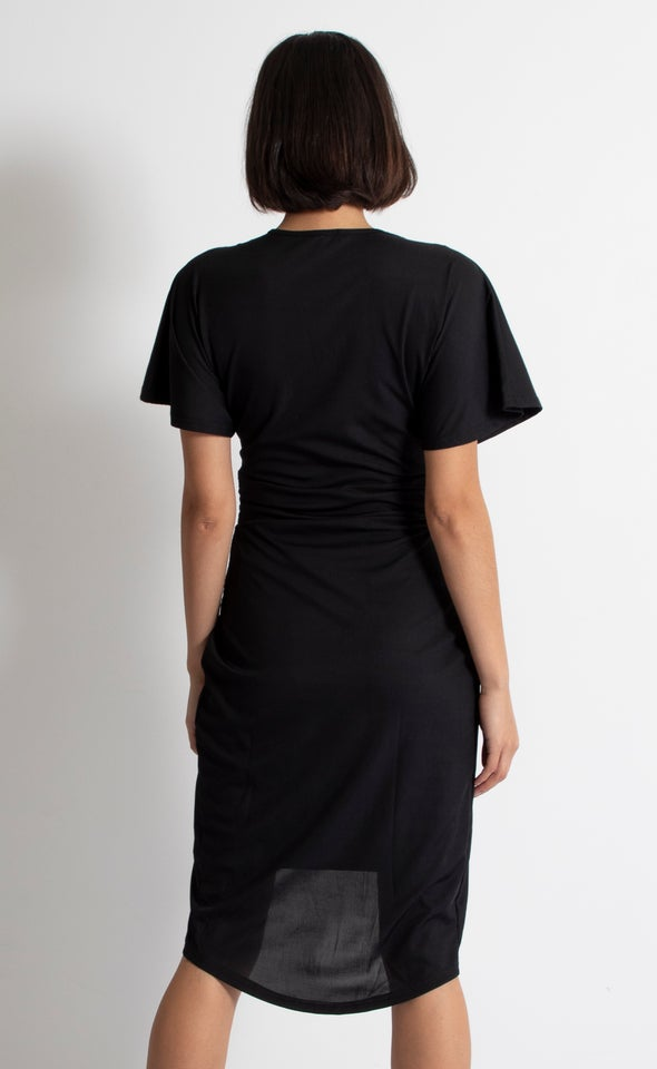 Jersey Twist Front Detail Dress Black