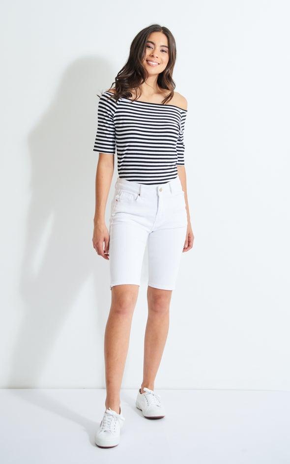 Knee Length Denim Capris White