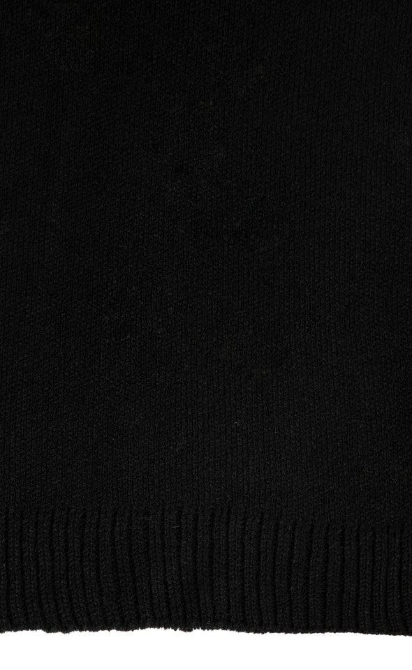 Knit Ribbed Scarf Black