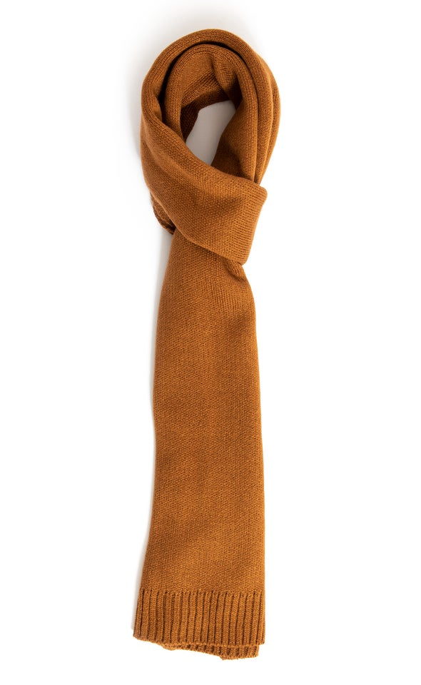 Knit Ribbed Scarf Brown