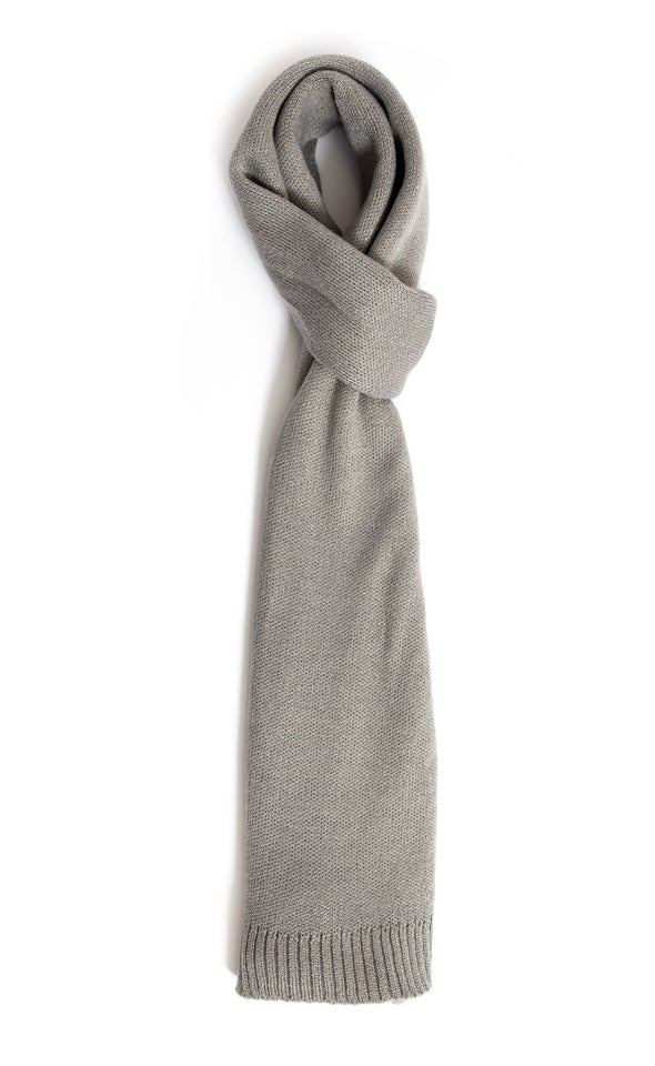 Knit Ribbed Scarf Grey