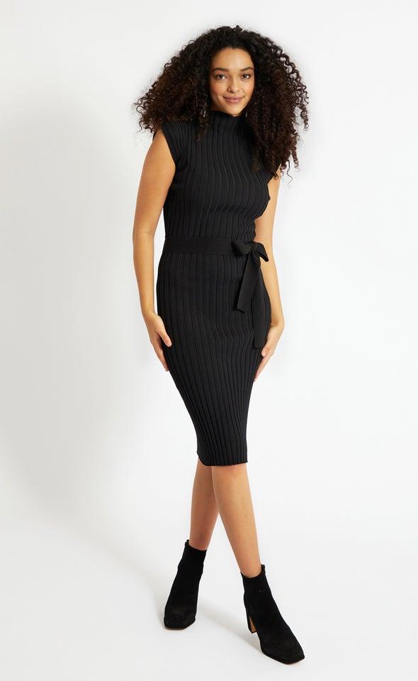 Knitwear Belted Pencil Dress Black