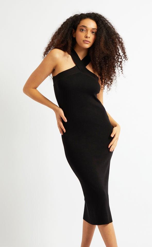 Knitwear Cross Strap Midi Dress Black