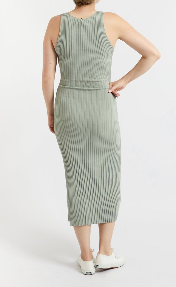Knitwear Ribbed High Neck Dress Sage