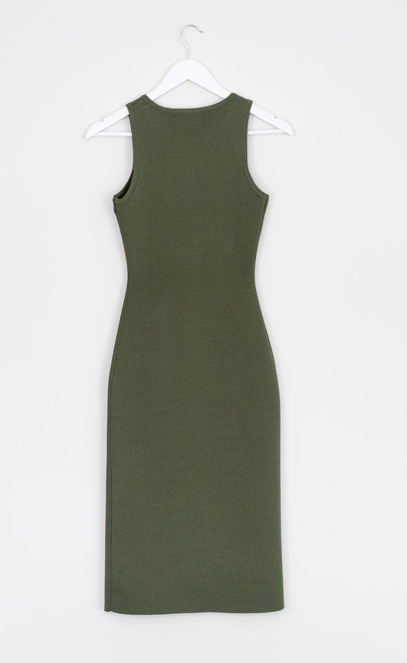 Knitwear Split Hem Tank Dress Khaki