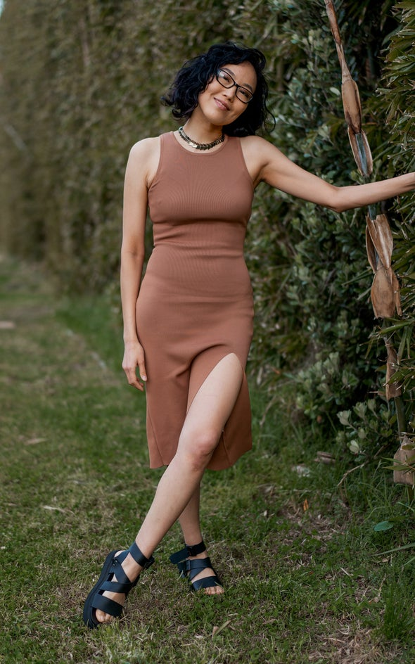 Knitwear Split Hem Tank Dress Tan