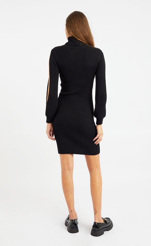 Knitwear Split Sleeve Turtleneck Dress Black