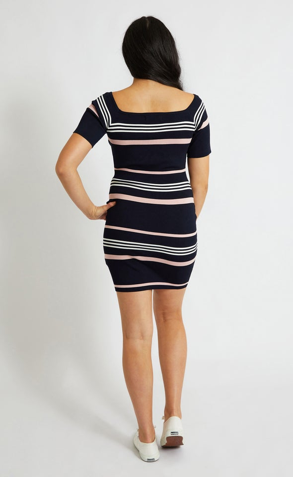 Knitwear Stripe Bardot Sleeve Dress Navy/white/blush