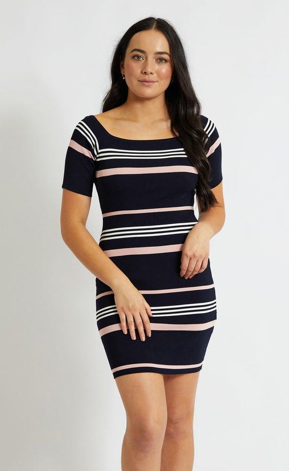 Knitwear Stripe Bardot Sleeve Dress