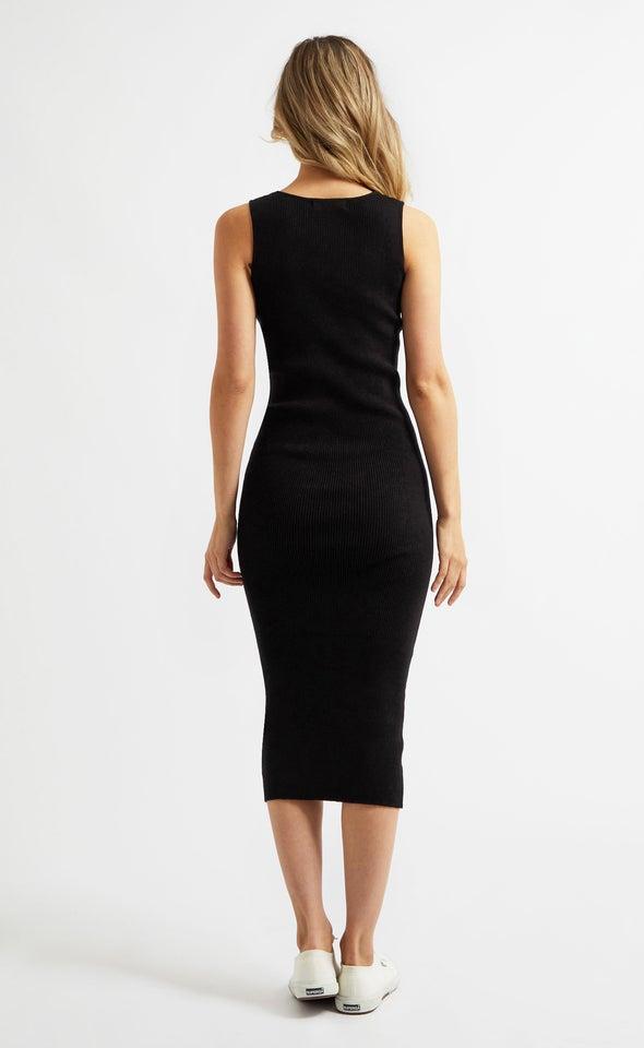 Knitwear Sweetheart Neckline Midi Dress Black