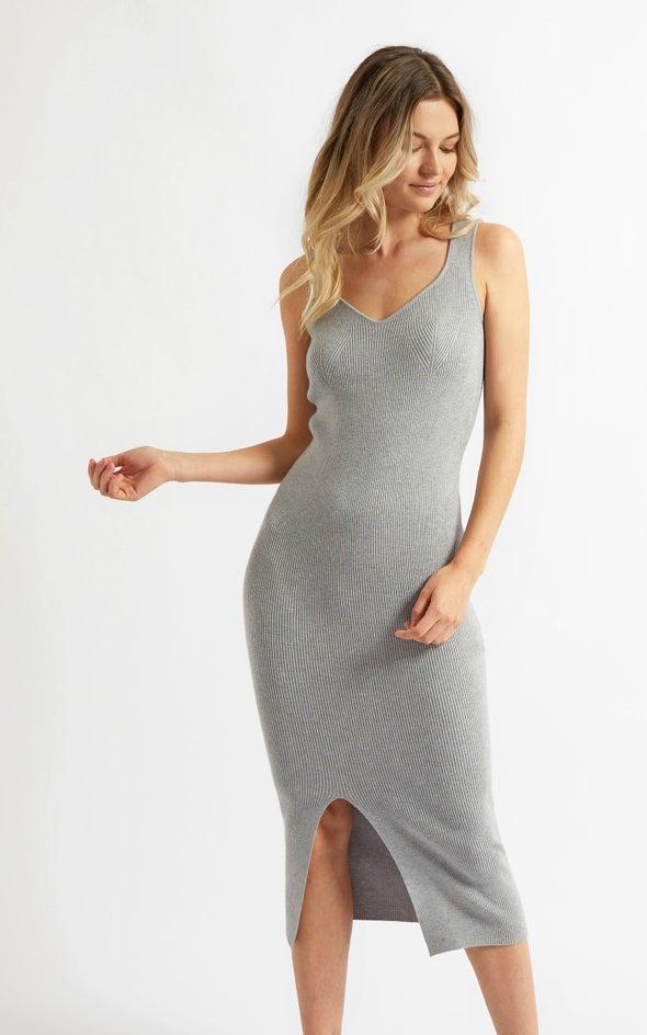 Knitwear Sweetheart Neckline Midi Dress Grey Marle