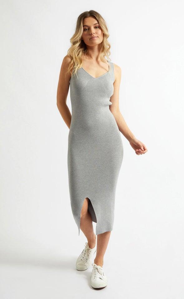 Knitwear Sweetheart Neckline Midi Dress