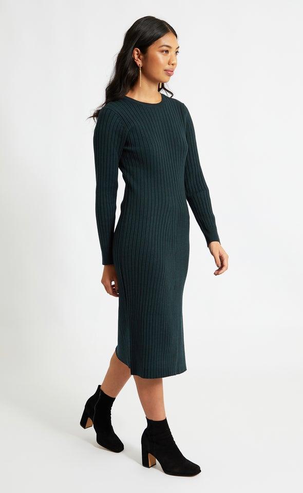 Knitwear Tie Back LS Dress Emerald
