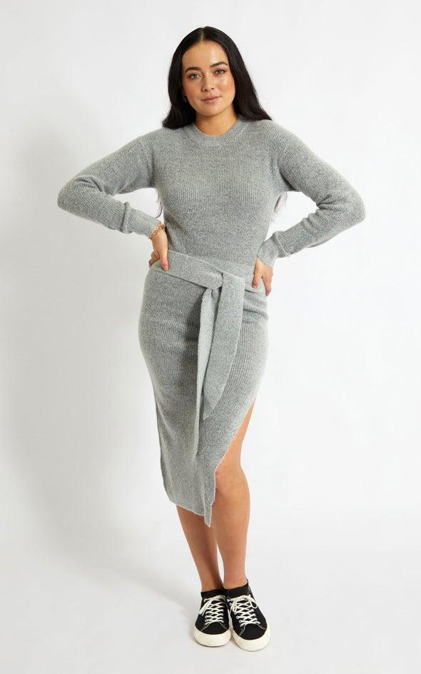 Knitwear Tie Waist Sweater Dress Grey Marle
