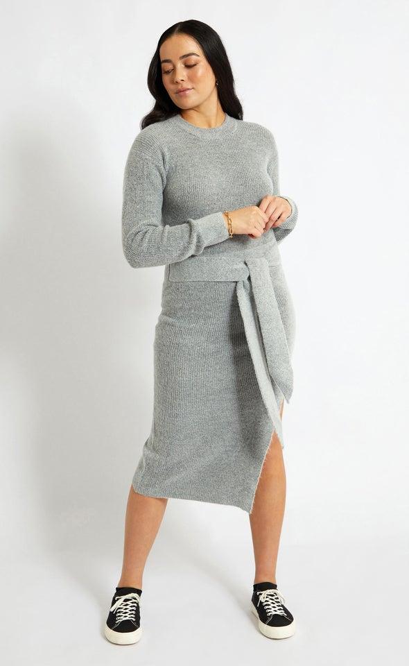 Knitwear Tie Waist Sweater Dress