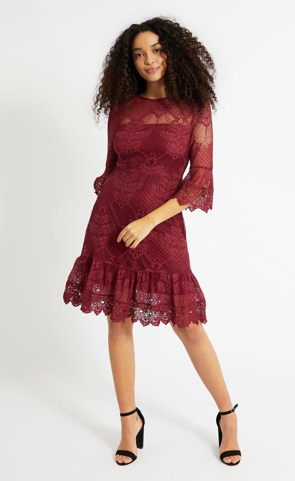 Lace 3/4 Sleeve Ruffle Dress Maroon