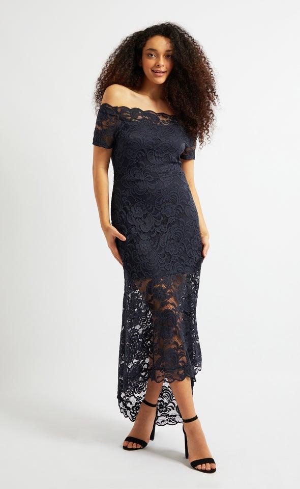 Lace Bardot Sleeve Fishtail Dress