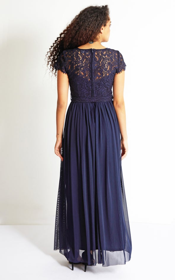 Lace Bodice Cap Sleeve Gown Navy