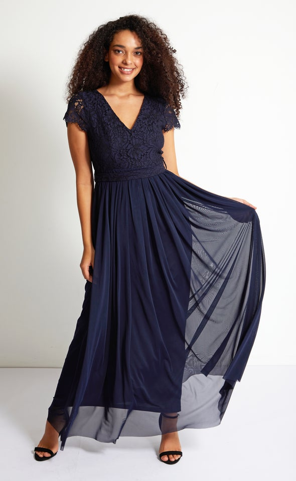 Lace Bodice Cap Sleeve Gown