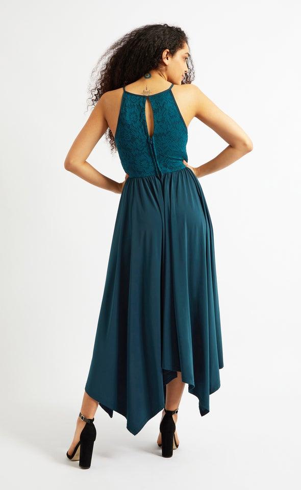 Lace Bodice Handkerchief Hem Gown Emerald