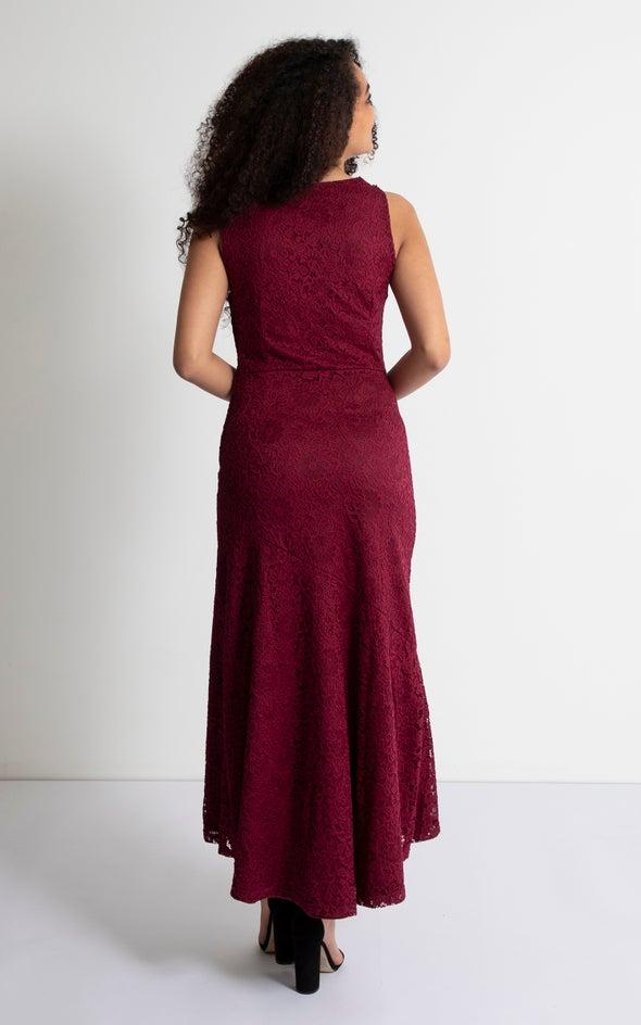 Lace Cowl Neck Midi Dress Aubergine