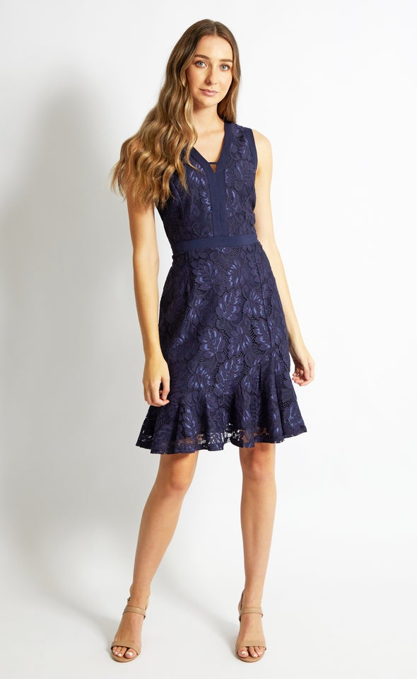 Lace Flare Hem Dress Navy