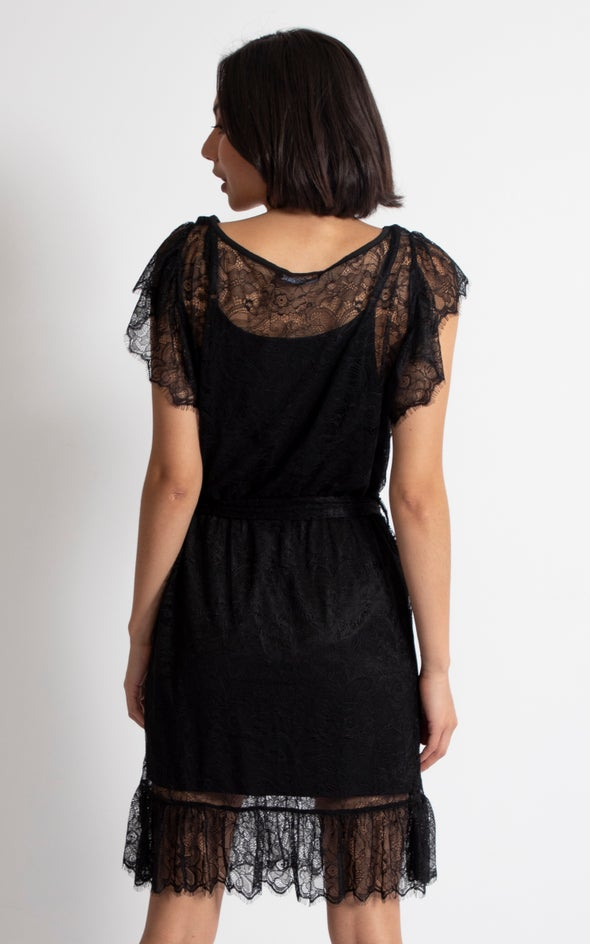Lace Frill Hem Mini Dress Black