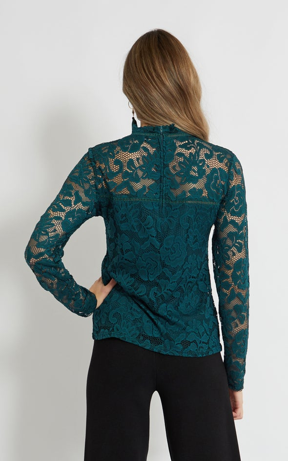 Lace Ladder Trim Long Sleeve Top Emerald