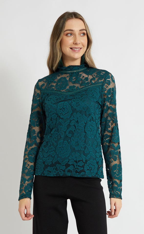 Lace Ladder Trim Long Sleeve Top