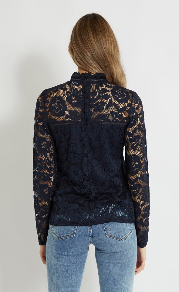 Lace Ladder Trim Long Sleeve Top Navy