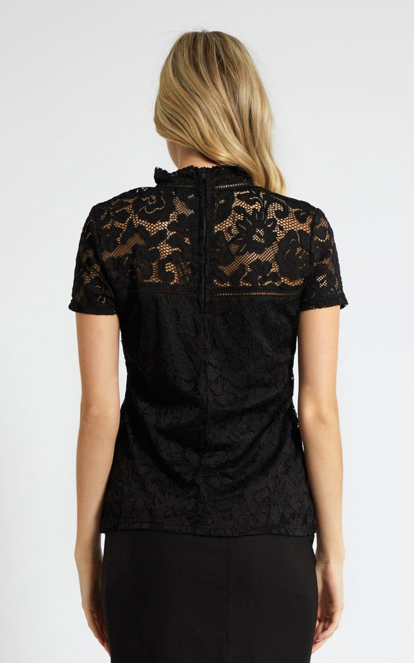 Lace Ladder Trim Short Sleeve Top Black