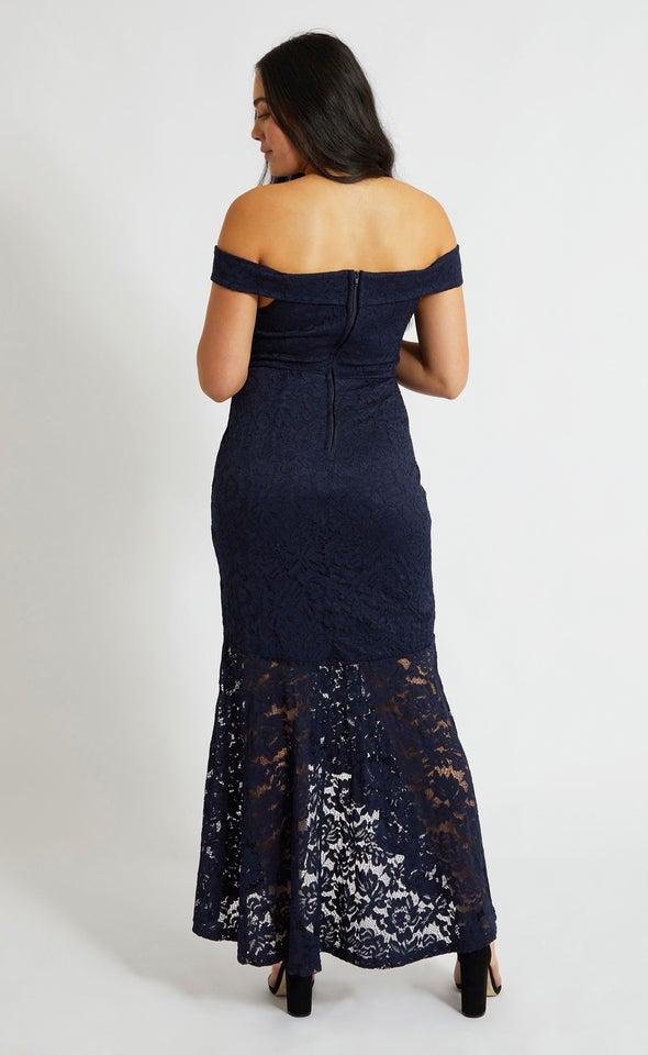 Lace Off Shoulder Hi-Low Gown Navy