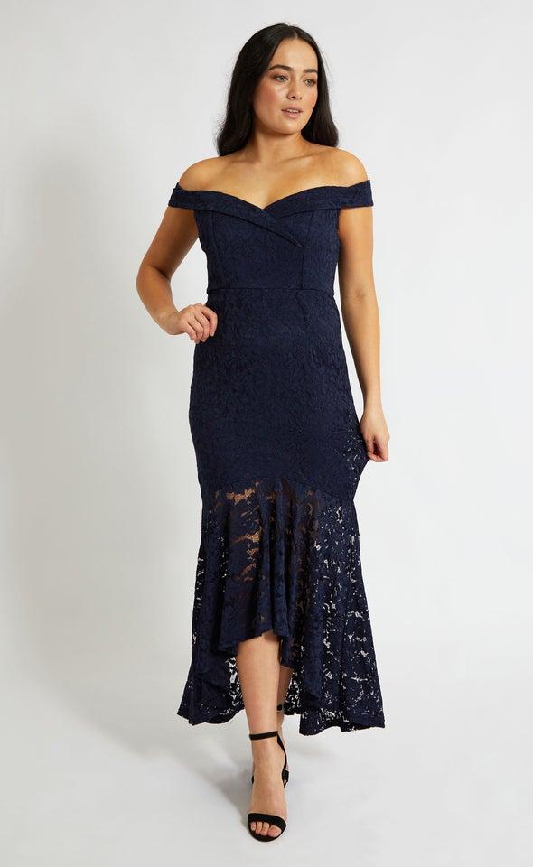 Lace Off Shoulder Hi-Low Gown
