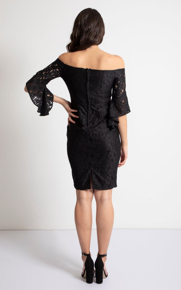 Lace Off The Shoulder Ruffle Dress Black