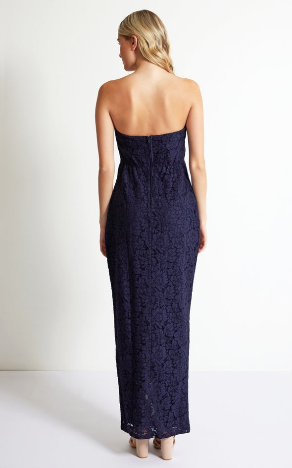 Lace Pleated Gown Navy