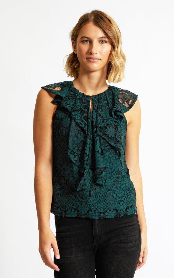 Lace Ruffle Detail Tank Emerald