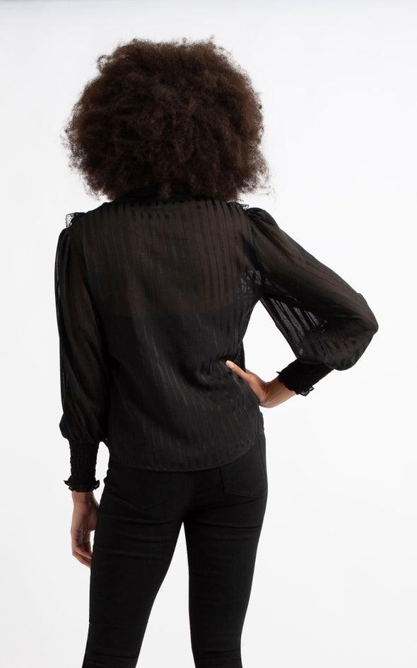 Lace Ruffle Shirt Black