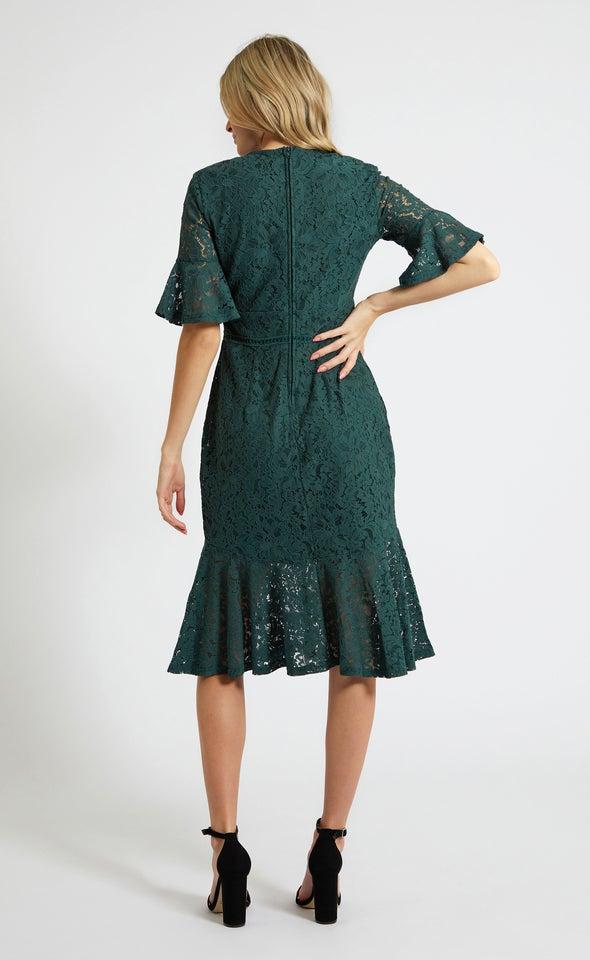 Lace Tiered Hem Midi Dress Forest Green