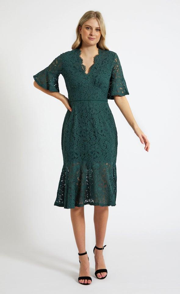 Lace Tiered Hem Midi Dress