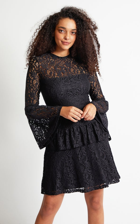 Lace Tiered Skirt LS Dress Black