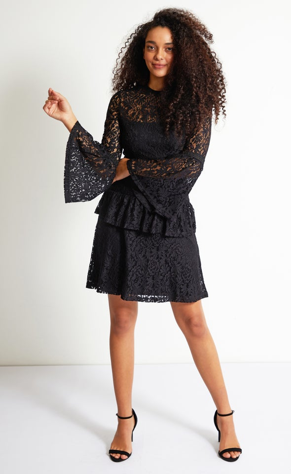 Lace Tiered Skirt LS Dress