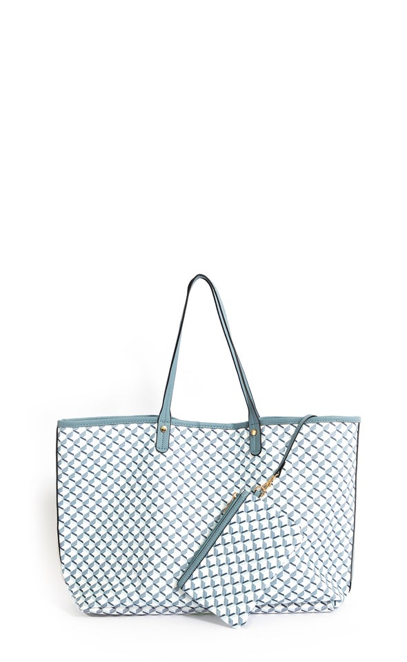 Large Printed Tote Blue/white