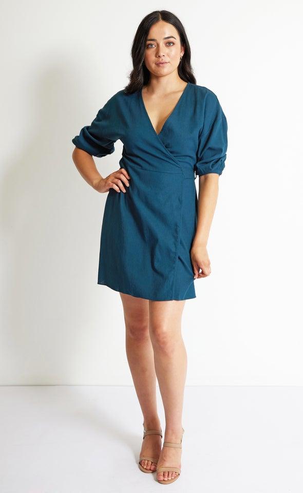 Linen Blend 3/4 Sleeve Wrap Dress Teal