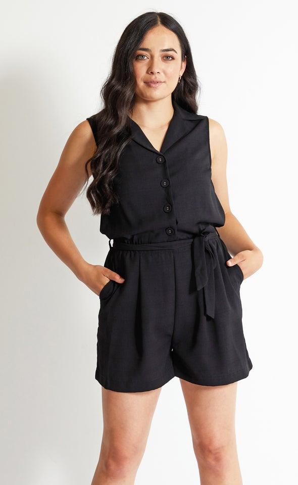 Linen Look Playsuit Black