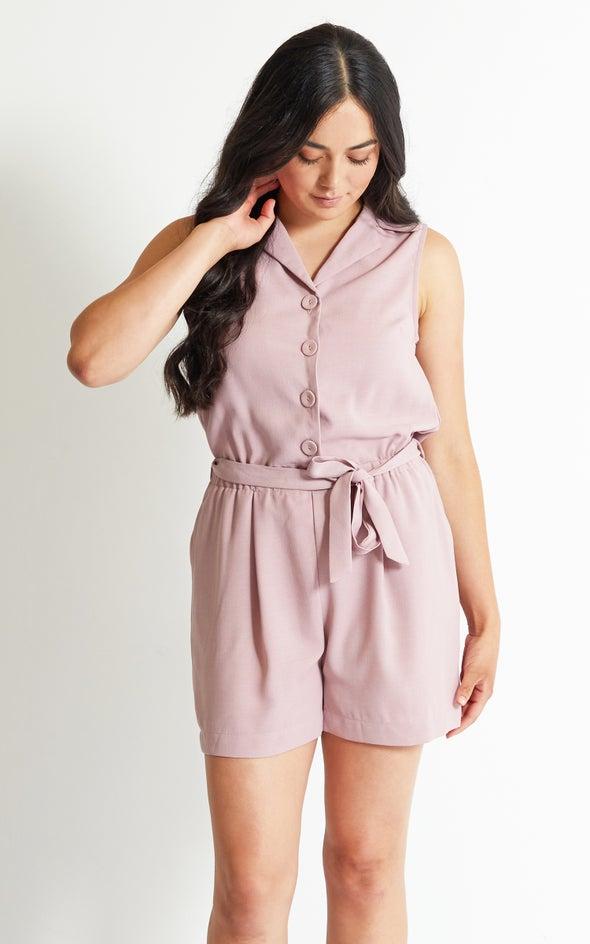 Linen Look Playsuit Blush